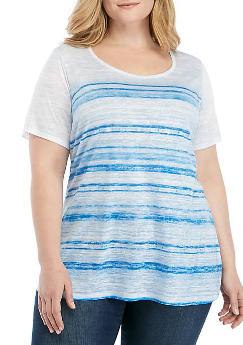 Kim Rogers® Plus Size Blue Stripe Burn Out