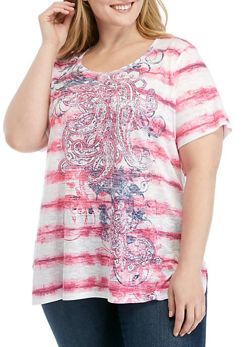Plus Size Paisley Burnout T Shirt