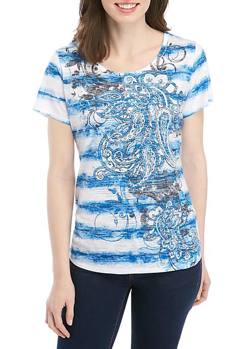 Kim Rogers® Petite Paisley Burnout T Shirt