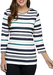 Criss-Cross Striped French Terry Top