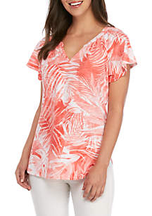 f74158bc3 ... Kim Rogers® Palm Leaf Flutter Sleeve Peasant T Shirt