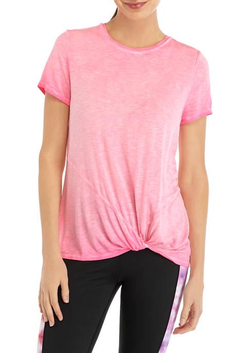 Acid Wash Knot Front T-Shirt