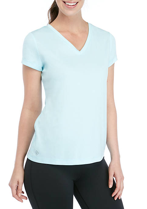 Perforated V Neck T Shirt
