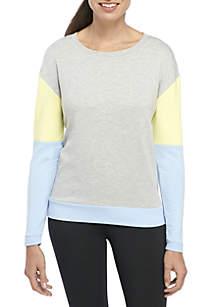 ZELOS Long Sleeve Colorblock Sweatshirt