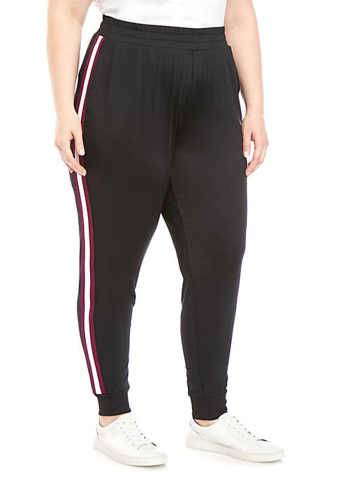 Plus Size Striped Track Joggers