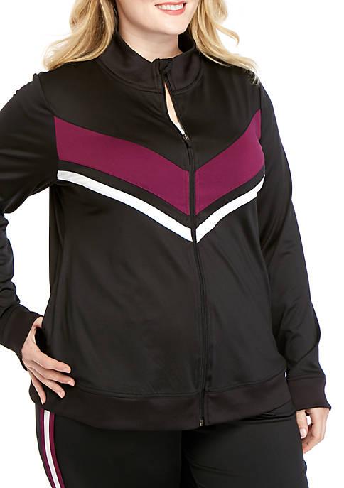 Plus Size Striped Track Jacket