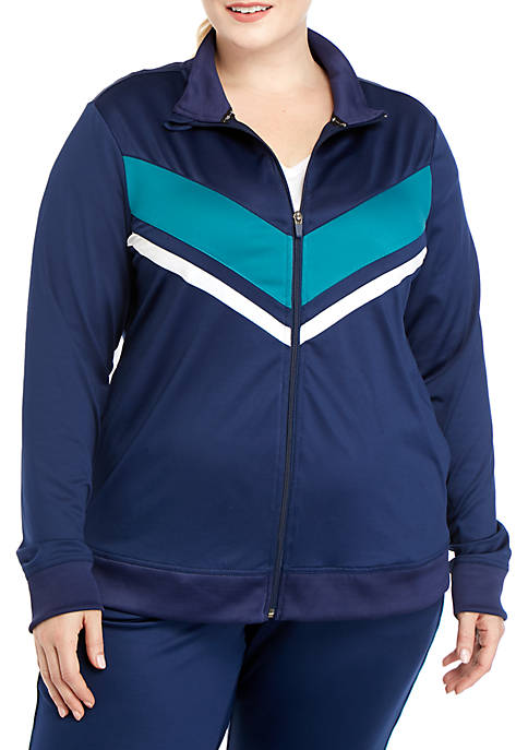 Plus Size Striped Track Jacket