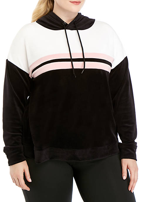 Plus Size Velour Pullover Hoodie