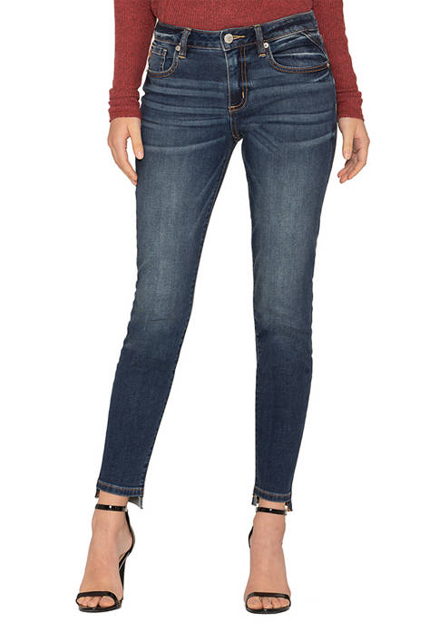 Womens Skinny Leg Clean Step Hem Dark Wash Jeans