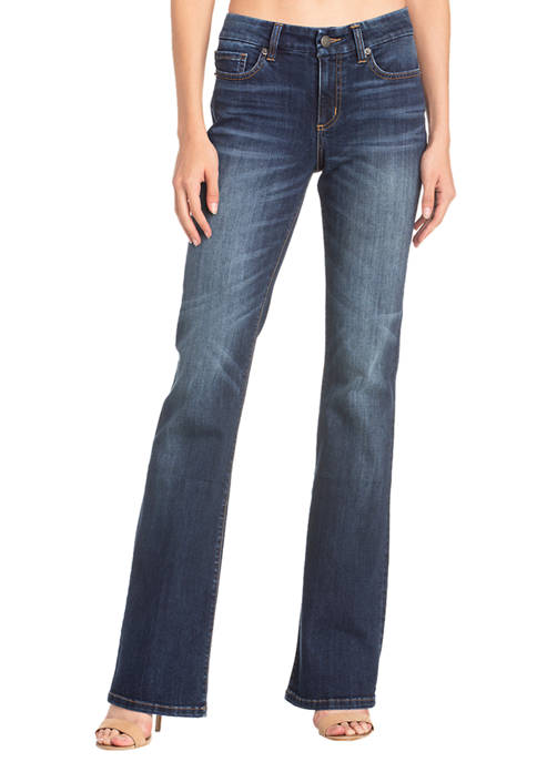 Womens Boot Cut Clean Dark Wash Jeans