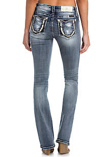 Light Wash Bedazzled Horseshoe Bootcut Jeans