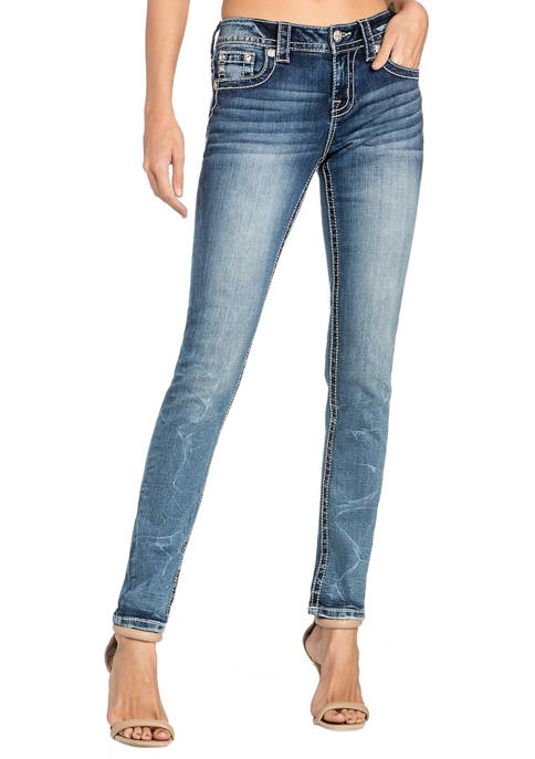 Womens Embroidered Regular Pocket Skinny Jeans