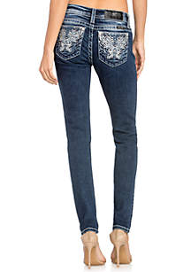 Embroidered Butterfly Pocket Skinny Jeans