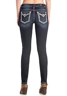 Dark Wash Bedazzled Pocket Skinny Jeans