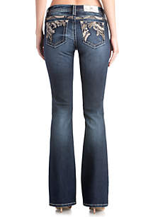 Leaf Embroidered Bootcut Jeans