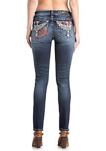Medium Wash Cross Wing Skinny Jeans