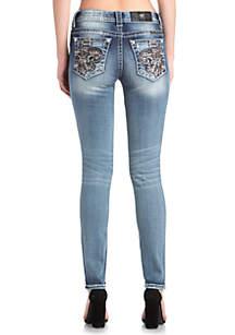 Light Wash Fleur De Lis Skinny Jeans
