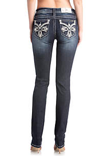 Dark Wash Embroidered Cross Straight Jeans