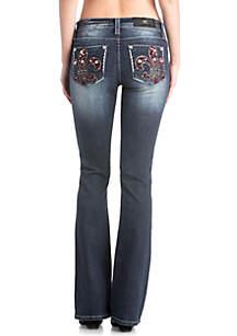 Medium Wash Wine Fleur De Lis Jeans