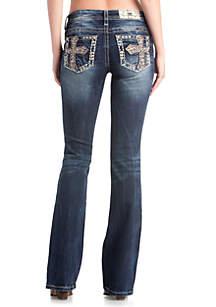 Medium Wash Bootcut Cross Pocket Jeans