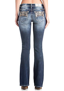 Medium Wash Bootcut Embroidered Jeans