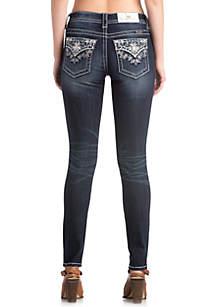 Dark Wash Skinny Bedazzled Jeans