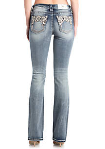 Light Wash Floral Sequin Bootcut Jeans