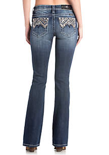 Dark Wash Boocut Geometric Embroidered Jeans