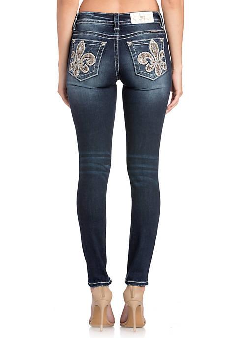 Fleur De Lis Skinny Dark Wash Jeans