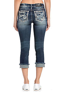 Miss Me Rolled Patch Medium Wash Jeans