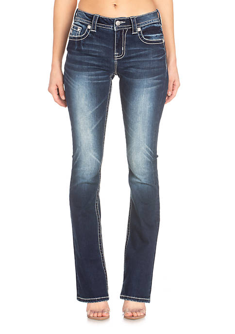 Medium Wash Tribal Bedazzled Bootcut Jeans