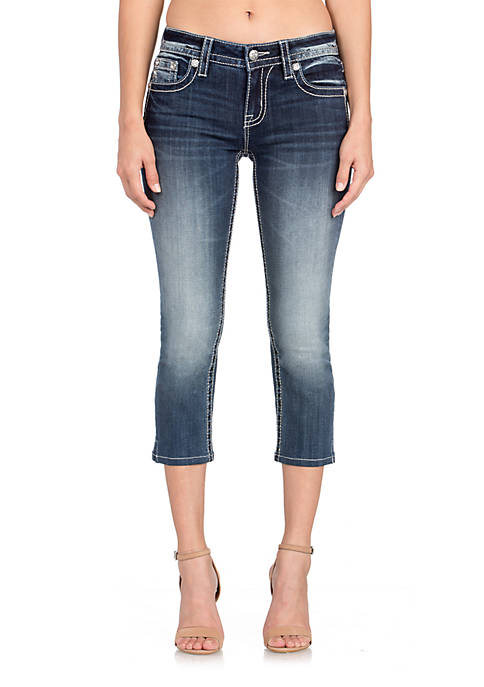 Miss Me Medium Wash Skinny Cropped Embroidered Jeans