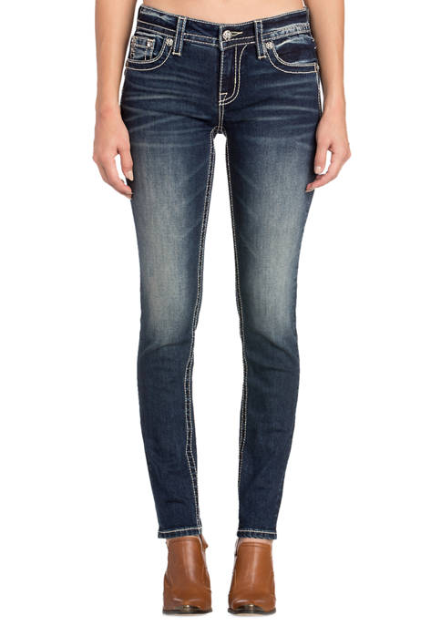 Womens Embroidered Flap Pocket Skinny Jeans