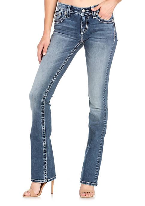 Fleur De Lis Pocket Boot Cut Jeans