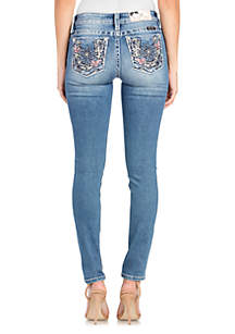 12d09ef90dd51e ... Miss Me Medium Wash Flower Embroidered Skinny Jeans