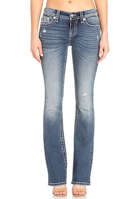 Medium Wash Boot Cut Embroidered Yoke Jeans