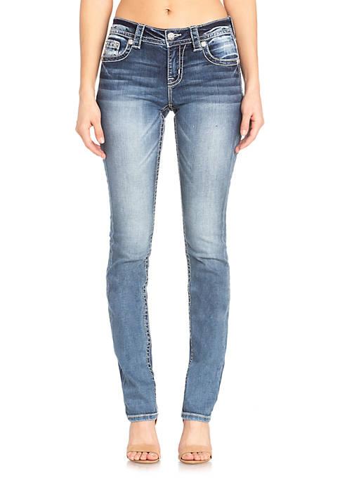 Dark Wash Straight Horseshoe Pocket Jeans