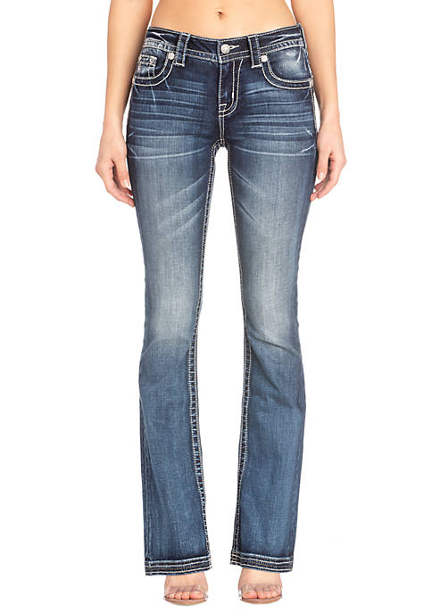 Womens Medium Wash Bootcut Feather Flap Pocket Jeans