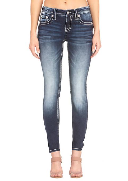 Womens Dark Wash Skinny Fit Jeans