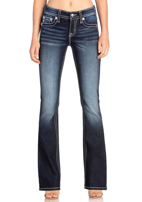 Womens Dark Wash Bootcut Flap Pocket Embroidered Jeans