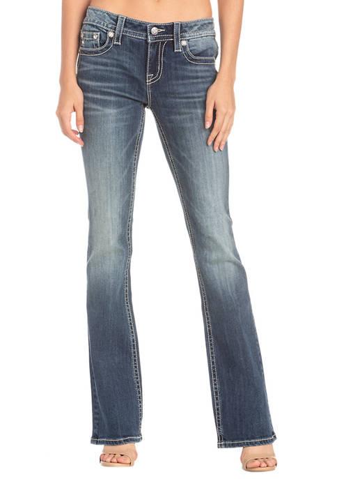 Womens Boot Cut Horseshoe Stitch Medium Wash Jeans