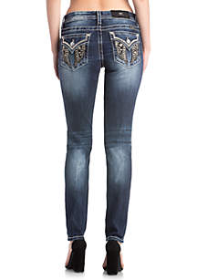 Medium Wash Bedazzled Wings Skinny Jeans