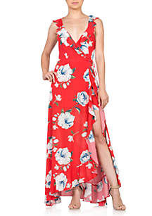Miss Me Printed Maxi Dress With Slit