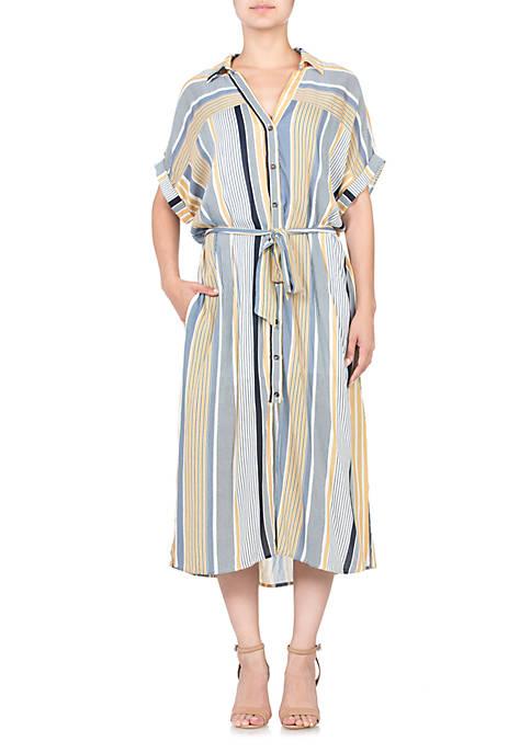 Short Sleeve Tie Waist Midi Dress