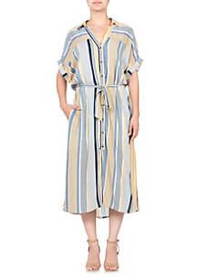 Miss Me Short Sleeve Tie Waist Midi Dress