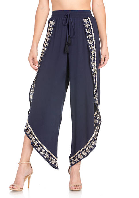 Miss Me Cropped Embroidered Soft Pants