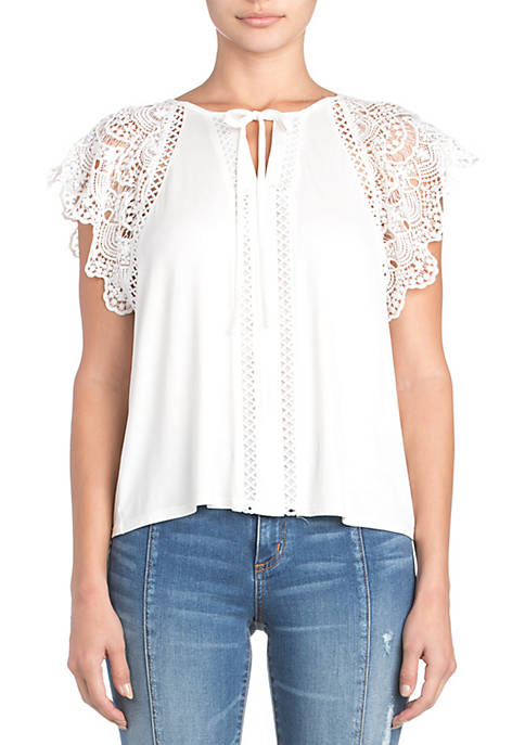 Lace Sleeve Tie Neck Top