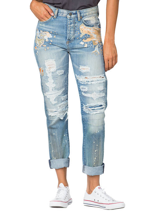 Miss Me Womens Distressed Embroidered Boyfriend Jeans