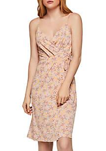 BCBGeneration Ditsy Print Sleeveless Wrap Dress