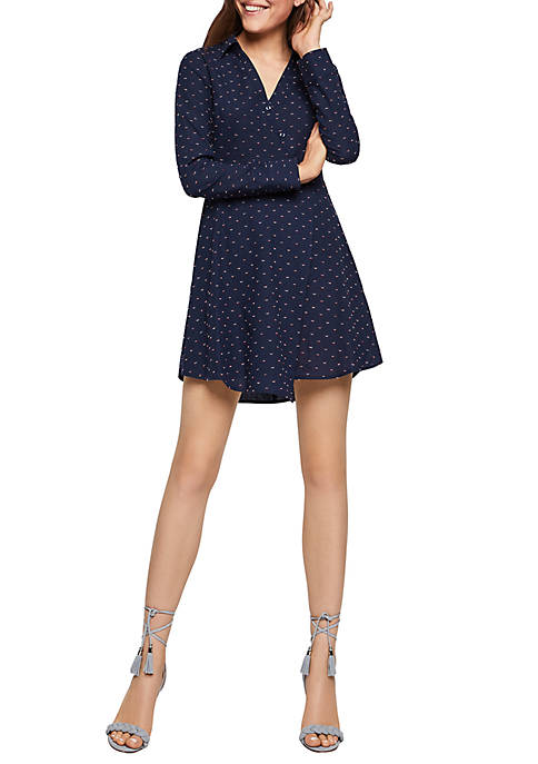 BCBGeneration Long Sleeve Dot Shirt Dress